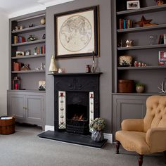 Grey traditional living room with fireplace and alcove shelving - Decoration Alcove Ideas Living Room, Small Living Room Design, Living Room Shelves, Living Room Storage, Living Room With Fireplace, Living Room Interior, Home Living Room, Living Room Designs, Living Room Decor