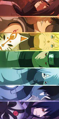 Itachi, Obito, Naruto, Shisui, Kakashi, Sai, Sasuke