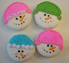 Cut e easy snowmen. Picture only.  Could use the white chocolate covered Oreos around Christmas time for ease.