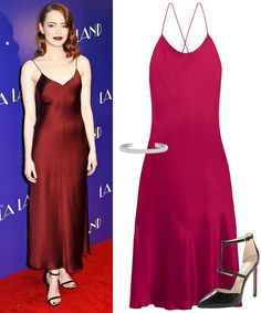 For something more formal, Emma Stone has the right idea - a slinky silk dress in an eye popping and flattering color.