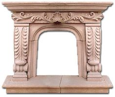 A hacienda stone fireplace is a often used to decorate elegant style living, family and dining rooms. It is handcrafted in various sizes or as made to order. by Rustica House Stone Fireplace Mantel, Fireplace Doors, Fireplace Surrounds, Fireplace Design, Stone Fireplaces, Exterior Design, Interior And Exterior, Chimnea, Stone Fountains