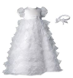 Amazon.com: Lauren Madison baby girl Christening Baptism Special occasion Newborn Multi Tiered Organza dress gown With Satin Bodice: Clothing