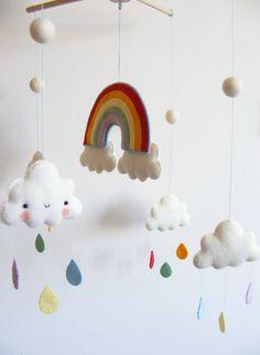 PDF pattern Rainbow and clouds baby crib mobile por iManuFatti