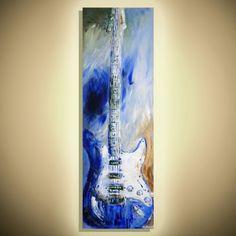 Music Art Guitar painting Green Blue Guitar Modern Guitar Artwork Handmade painting on canvas