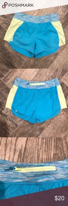 Ivivva Blue Gym Shorts Little girls Ivivva shorts, size 12.  Has inner undies, 1 pocket on the seam and 1 zipper pocket on the back.   Pre-owned: excellent condition! Ivivva Bottoms Shorts