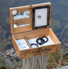 This is a very well made wooden jewelry box with personalized engraving included on the front. Engraving can be whatever you would like. Additional fonts are also available. This jewelry box measures: