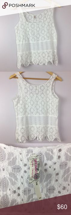 """Intimately Free People White Lace Boho Tank Top •Intimately Free People White Lace Tank •In excellent used condition •Women's Size Small •Body: 60% cotton, 40% nylon // trim: 100% polyester •All measurements are approximate: 22.5"""" length, 17"""" armpit to armpit Free People Tops Tank Tops"""