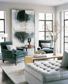 teal home accents Abstract expressionist painting in living room with beautiful teal velvet chairs. Art is one of our top interior design trends for use large artwork to add interest and personality to your home. House Design, Interior, Transitional Living Rooms, Home, Contemporary Living Room, Living Room Decor, House Interior, Interior Design, Home And Living