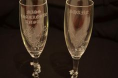Hen and Stag glasses, hand engraved. #hendo #stagdo #hen #stag #engaged #wedding Valentines