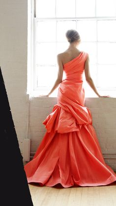 Bright coral gown- Great maid of honor dress Evening Dresses, Formal Dresses, Wedding Dresses, Coral Gown, Peach Gown, Mode Glamour, Mode Style, Beautiful Gowns, Gorgeous Dress