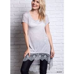 """Silver Lining"" Lace Hem Top / Tee High low silver tee with a stunning lace hem. Can be paired with denim or leggings for an effortless comfy chic look. Brand new without tags. True to size. Bare Anthology Tops"