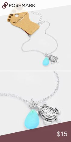 """Turtle Anklet • Anklet Size : 8"""" + 2"""" L  • Charm Size : 0.4"""" x 0.6""""  • One side only • Mermaid Anklet with Tear Drop Natural Stone Jewelry"""