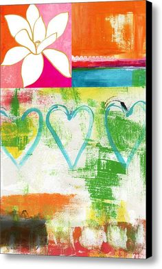 In Bloom- Colorful Heart And Flower Art Canvas Print / Canvas Art By Linda Woods