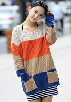 Beige Striped Pockets Dolman Sleeve Pullover Sweater - Pullovers - Sweaters - Tops