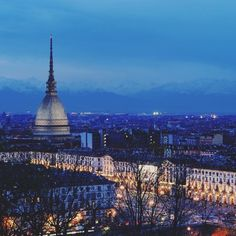 Splendid view of #Turin by night with the imposing Mole Antonelliana the architectural symbol of the city.