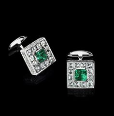 LEVIEV jewelry - Emerald and White Diamond Cuff Links totaling 14.63 carats…