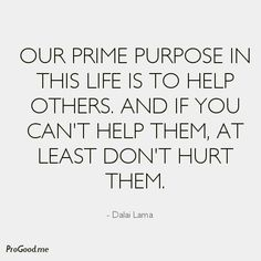 Our prime purpose in this life is to help others, and if you can't help them at least don't hurt them.