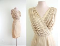 Party Dress: 1950's - 1960's, Chiffon ruching faux wrap bustline, with a fitted skirt.