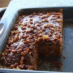 Date Cake - Simple coffee cake with dates, raisins and nuts. a wonderful flavor and unique broiled topping Food Cakes, Cupcake Cakes, Cupcakes, Fruit Cakes, Date Recipes, Sweet Recipes, Moist Date Cake Recipe, Date Nut Bread, Baking Recipes