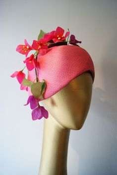 1960's Jack McConnell pink straw cloche with faux flowers from Xtabay