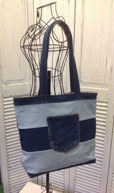 Bleu Redux Upcycle Two Tone Denim Chevron Tote Denim Tote Bags, Diy Tote Bag, Denim Purse, Chevron, Diy Old Jeans, Denim Bag Patterns, Ankara Bags, Denim Crafts, Recycled Denim