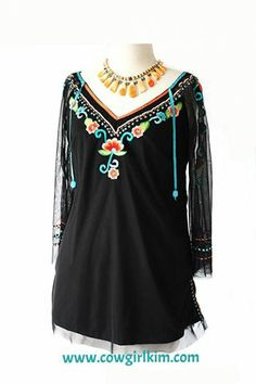 Brands :: Vintage Collection :: VINTAGE COLLECTION SPRING 2014 SHEER SLEEVE EMBROIDERED TUNIC! - Native American Jewelry|Ladies Western Wear...http://www.cowgirlkim.com/cowgirl-brands/vintage-collection/vintage-collection-spring-2014-sheer-sleeve-embroidered-tunic.html