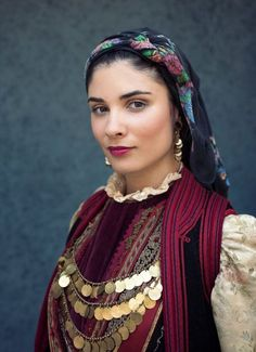 Greek woman from Konitsa, Epirus, Greece. Traditional clothing.