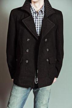 7d0854f5389 Hawke Hugo Wool Peacoat with Chunky Rib Collar Black