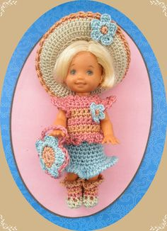 """Crochet Doll Clothes Linen Flowers Kelly for 4 ½"""" Kelly Same Sized Dolls"""