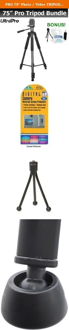 "PRO 75"" Photo / Video TRIPOD w/Quick Release Plate, Bubble Level, & More For Select Canon PowerShot Models. UltraPro Bundle Includes: Mini Travel Tripod, LCD Screen Protector, Camera Cleaning Package. This sturdy tripod is packed with features, and can handle all your photography needs. Product Specifications: - 75"" height but it collapses to 27"" - Built-In Carrying handle - Center pole hook - Foam padded legs - Quick release knob - Swivel non-slip Feet - Two bubble level indicators -..."