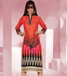 Buy Enormous Rayon Cotton Printed Multicoloured Stiched Fashion Kurtis party-wear-kurti online