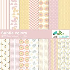 Subtle colors digital papers - pastel colored papers that are great for creating announcements, crafts and creative projects.