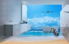 Breathtaking and Cool Blue Bathroom Design Ideas - Interior design 3d Bathroom Design, Blue Bathrooms Designs, Beach Bathrooms, Modern Bathroom, Bathroom Ideas, Floor Murals, Floor Art, Wall Mural, 3d Flooring