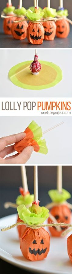 HOW TO Pumpkin Pops! Another sweet Halloween party favor idea, and so simple to make! ★ Via One Little Project ★ ★ ★ Halloween Party Favors ★ Halloween Party Favor Ideas ★ Halloween Celebration ★ Halloween Party Ideas ★ Halloween Snacks, Citouille Halloween, Deco Haloween, Adornos Halloween, Manualidades Halloween, Halloween Goodies, Halloween Birthday, Holidays Halloween, Halloween Decorations