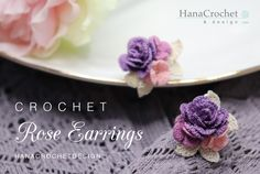 rose earrings jewelry making pattern - DIY crochet purple rose earrings with flowers tutorial - crochet pattern and how to - digital file Diy Crochet Rose, Thread Crochet, Crochet Flowers, Small Pink Flowers, Purple Roses, Lace Patterns, Crochet Patterns, Crochet Earrings Pattern, Bridesmaid Accessories