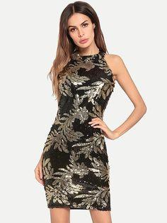 83f2794464 Vinfemass Sleeveless Sequins Mini Party Dress