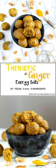 Turmeric & Ginger Energy Balls - Naturally gluten free, vegan and refined sugar free. The perfect quick, healthy and nutritious snack for on the go. Tumeric And Ginger, Turmeric, Healthy Vegan Snacks, Healthy Recipes, Healthy Nutrition, Vegan Food, Vegan Vegetarian, Vegan Snacks On The Go, Easy Recipes