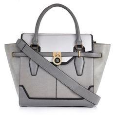 River Island Grey padlock winged tote handbag ($90) ❤ liked on Polyvore featuring bags, handbags, tote bags, gray tote bag, gray handbags, wing tote, grey purse and river island handbags