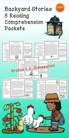 These engaging reading comprehension passages for grades 1-2, and homeschool can be used in your class to help your students with reading comprehension skills as well as with test taking skills.  Please take a preview peek!    Included: 5 engaging passages with 4 multiple choice questions and 2 written responses.  Jen's Hens    The Garden Spider Mike's Birdfeeders Kit's Tomato Plant The Pond