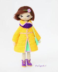 """""""А вот и во всей красе  Полностью на каркасе.Умеет сидеть и стоять в обуви. Рост 20см . Дом нашла  #handmade #crochetdoll #knitstagram #крючком #актау…"""""""