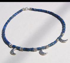 Lapis Lazuli Silver Moon and Star Heishe Choker.via Etsy.