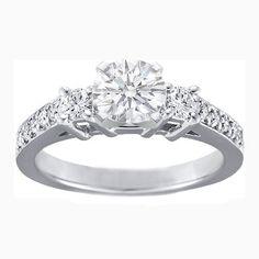 Diamond Engagement Ring with Round Diamonds side stones