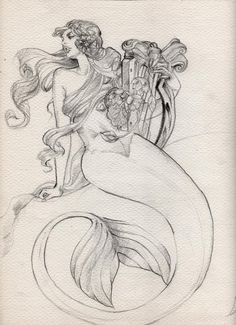 Here is a mermaid concept I did for a freelance project. Its been a long time since I drew something from start to finish on paper, and line weighted it and everything. I normally do everything hal...