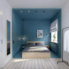 La bonne astuce du jour pour délimiter le coin nuit du coin dressing : peindre les murs, le sol et le plafond autour du lit ! Une idée à utiliser dans une grande pièce pour créer un nid douillet propice à la détente et à la rêverie #deco #chambre #bleu