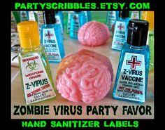 Zombie Apocalypse Favor Labels for the Walking Dead, World War Z Hand Sanitizer Printable Label INSTANT DOWNLOAD