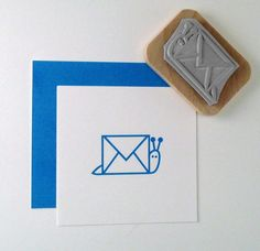 Snail Mail Rubber Stamp por cupcaketree en Etsy