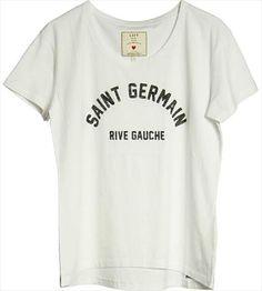 st germain Graphic Shirts, Tee Shirts, Paris Souvenirs, Loft Design, Cozy Fashion, Mixing Prints, Top Pattern, Printed Tees, White Tees