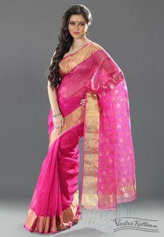 Fluorescent Pink Silk Linen Saree with Zari