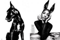 Jourdan Dunn for Garage Magazine // #editorial #fashion #dog
