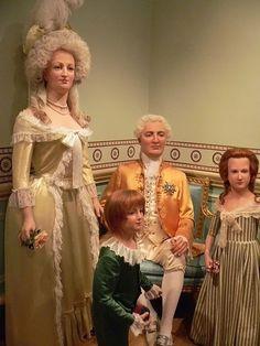 wax figures of Marie Antoinette, Louis XVI and children